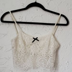For Love and Lemons White Lace Crop Top with Bow